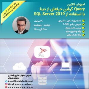 ثبت نام دوره آنلاین Query گرفتن حرفهای از دیتا با استفاده از SQL Server 2019 - مدرس شهاب ساری اصلانی