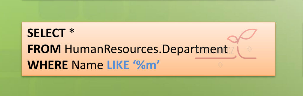 مثال کاربرد عملگر LIKE در SQL Server برای فیلتر کردن فیلدهای متنی در دیتابیس
